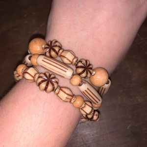 Handcrafted Set of Bracelets w/ Wood Beads